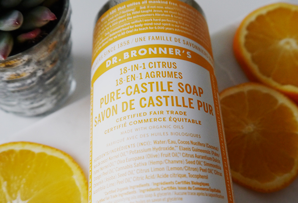 Dr. Bronner's 18-in-1 Citrus Pure Castile Soap ingredients list