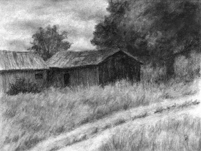 art drawing charcoal rural barn shed tree road field