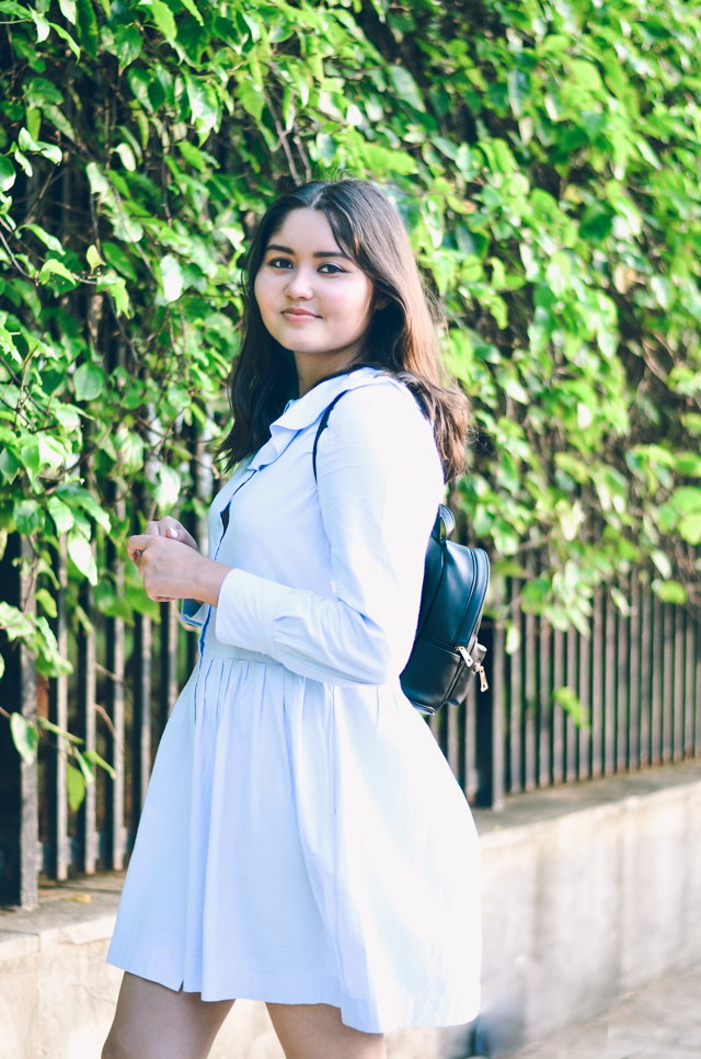 Pastel Blue Smock Dress with mini backpack
