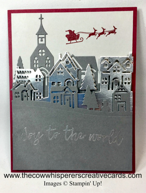 Card, Hometown Greetings Edgelits Dies, Hearts Come Home, Silver Foil, Christmas