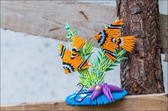 592. Rafa koralowa z rybkami z origami / 3d origami coral reef with fishes