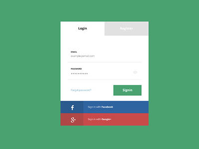 Flat Login Page Design Free PSD Download