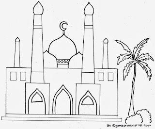 Gambar Sketsa Mewarnai Masjid Terbaru 201704