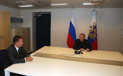 Vladimir Putin aboard the Pioneering Spirit construction vessel. With Gazprom CEO Alexei Miller.