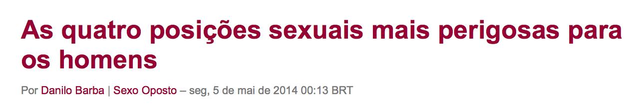 As quatro posições sexuais mais perigosas para os homens