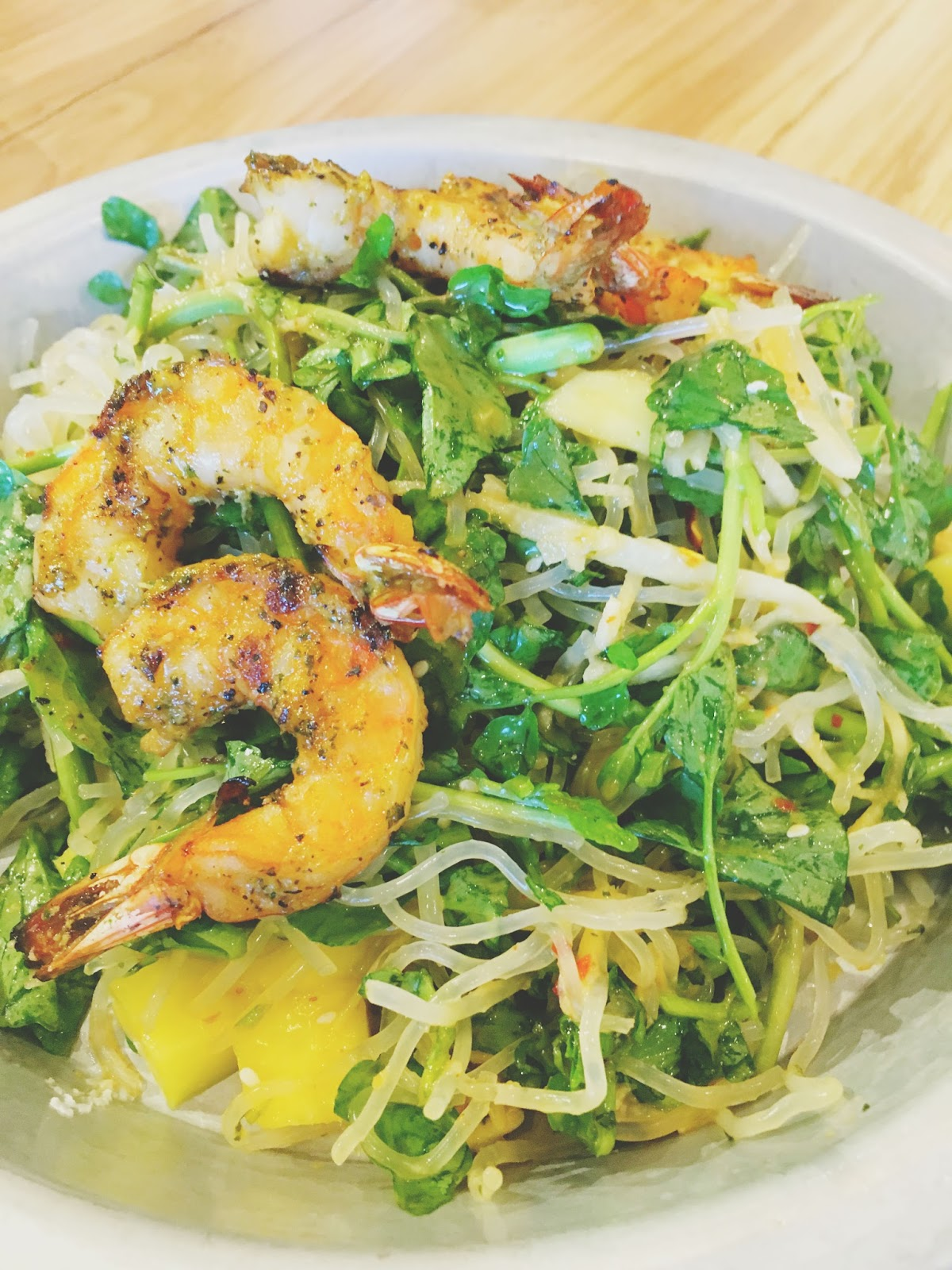 Thai salad with grilled shrimp at H.S. Green - A healthy restaurant in Houston, Texas