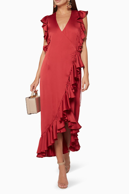 Red Anna Ruffle Wrap Midi Dress 975 AED