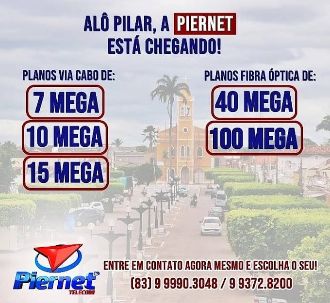 PIERNET: Alô, Pilar! A PierNet está chegando!! Em breve Pilar terá uma internet com mais velocidade, estabilidade e segurança, entre em contato e tire suas dúvidas.