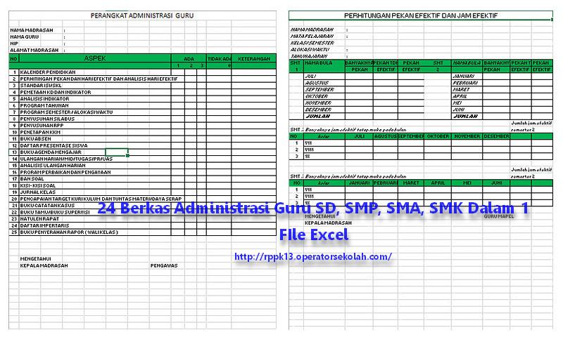 24 Berkas Administrasi Guru SD SMP SMA SMK Dalam 1 File Excel