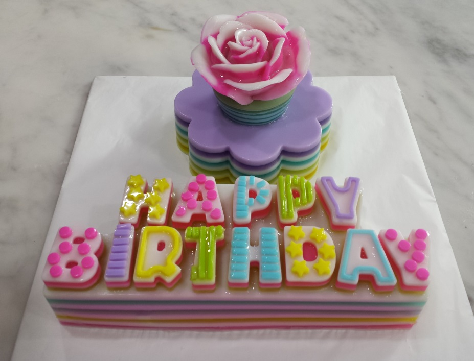 Rose Jelly Cake Recipe: Yochana's Cake Delight! : Rose Jelly With Happy Birthday