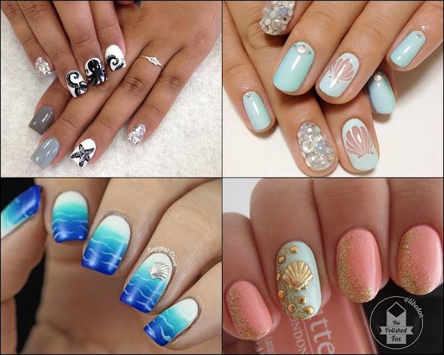morskie wzorki na paznokcie