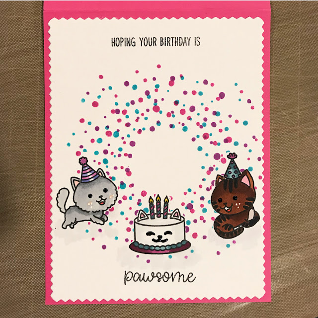Sunny Studio Stamps: Purrfect Birthday Confetti Customer Card by Chele
