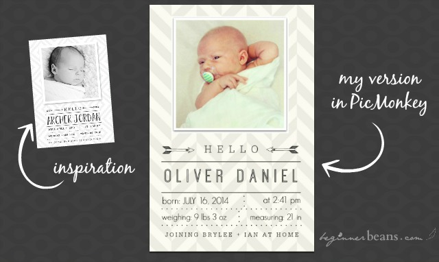 Birth Announcement Ideas and Creating with PicMonkey