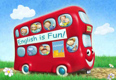 Bus rouge English is Fun enfants