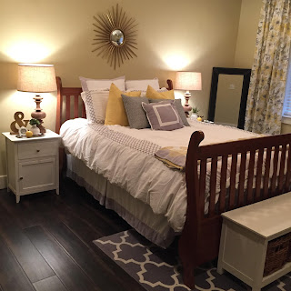 Master bedroom remodel from www.jengallacher.com. #masterbedroom #bedroommakeover #bedroomremodel #yellowbedroom