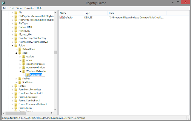 """كيفية إضافة خيار """"تفحص بواسطة Windows Defender"""" عند النقر بزر الماوس الأيمن على الملفات بدون برامج"""