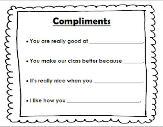 Compliment sentence stems reproducible anchor chart
