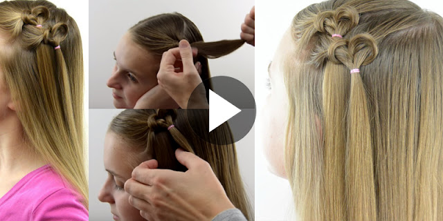Learn - How To Create Knotted Hearts Hairstyle, See Tutorial