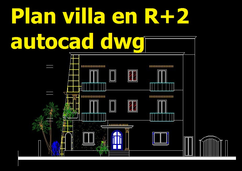 plan villa en r 2 en autocad dwg cours g nie civil outils livres exercices et vid os. Black Bedroom Furniture Sets. Home Design Ideas
