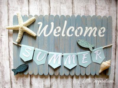 Insegna Coastal con stecchi gelato, bandierine, conchiglie e scritta Welcome Summer - finito flat - MLI