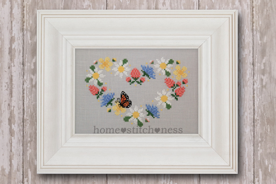 summer garland wildflower heart wreath cross stitch design by homestitchness