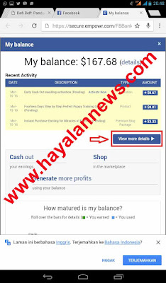 Cara melakukan early cash out sosial media empowr penghasil uang dollar