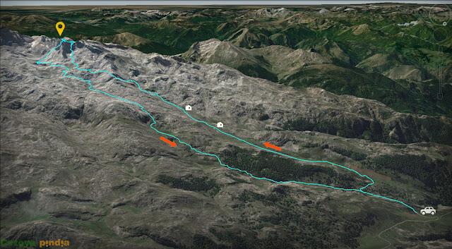 Mapa con la ruta señalizada a la Torre de Santa María en Picos de Europa