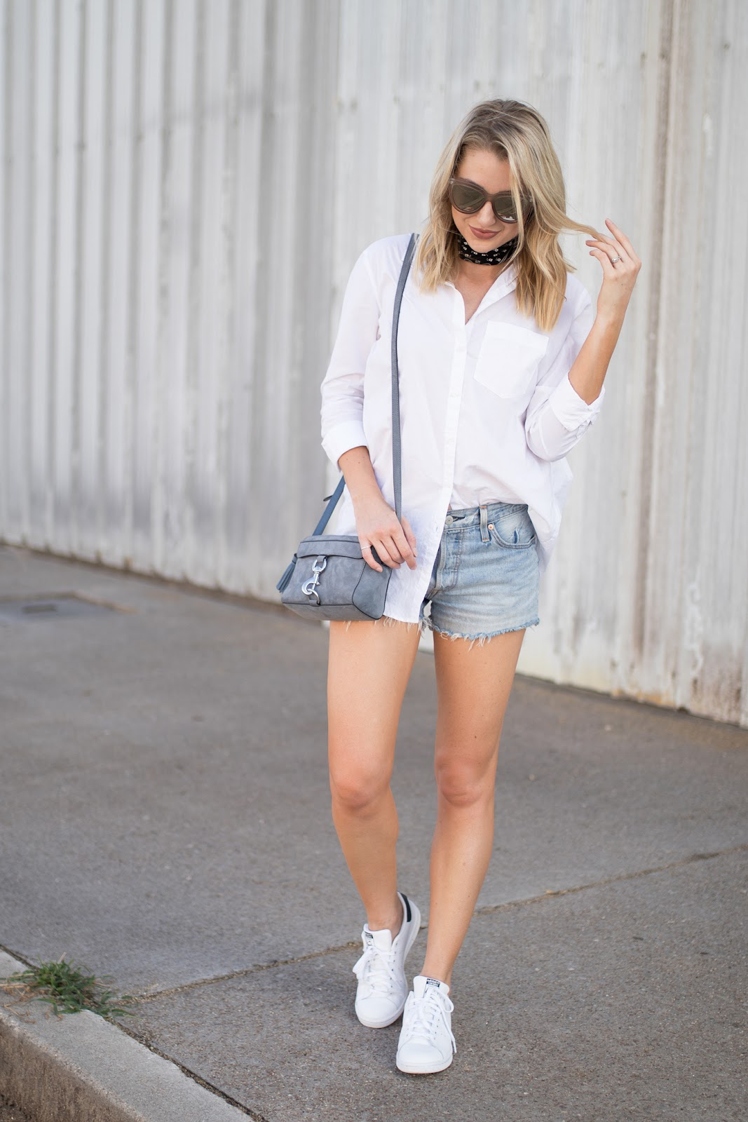 White button down with cutoffs