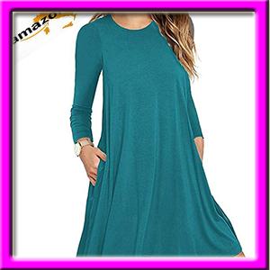 6cb573bec18d Unbranded  Women s Long Sleeve Pocket Casual Loose T-Shirt Dress ...