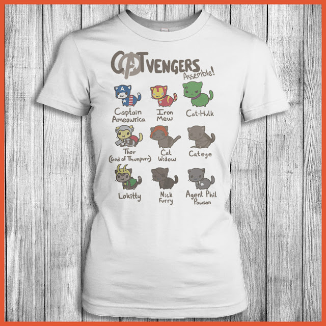 Cat Vengers assemble! Captain ameowrica Iron Mew Cat-hulk Thor(god of thunpurr) Cat widow cateye lokitt nickfurry agent phil pawson T-Shirt