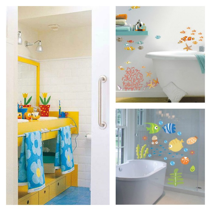 ideas para decorar el baño de los niños, vinilos, colores