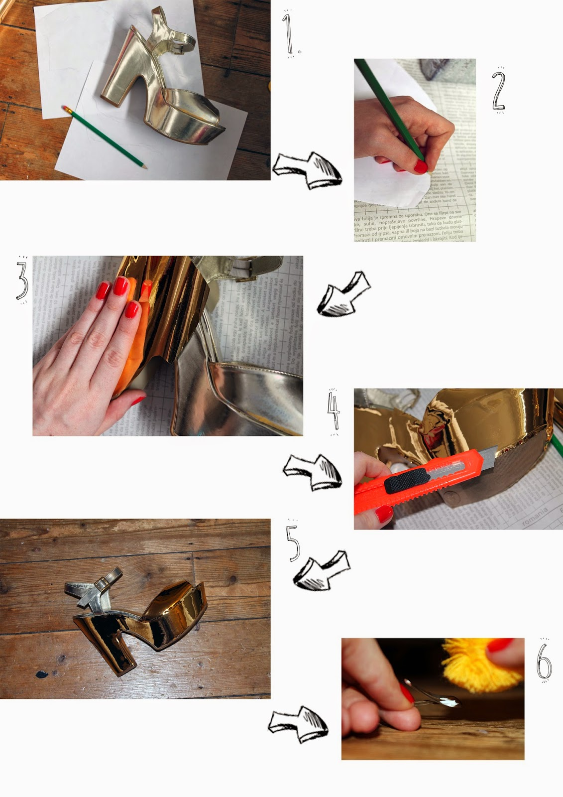 DIY metallic pom-pom heels step by step tutorial