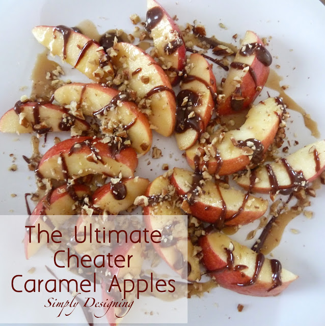 The Ultimate Cheater Caramel Apples!  If you love caramel apples but hate the work of making them and the mess of eating them, then these are definitely for you!  Plus it includes a link to the BEST Caramel Sauce ever!!  #recipe #apples #caramel #fall