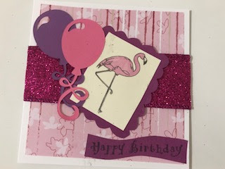 handmade flamingo birthday card