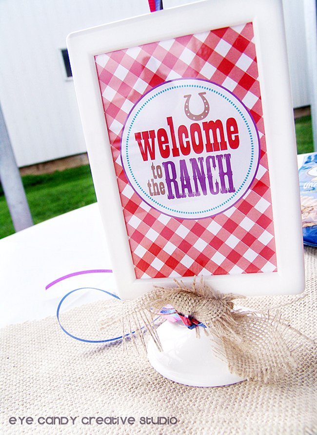 welcome to the ranch sign, cowboy birthday party decor, burlap accents