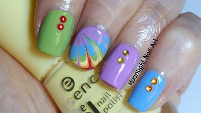 Rainbow Drag Marble Nails - Needle Nail Art - Toothpick Nail Art