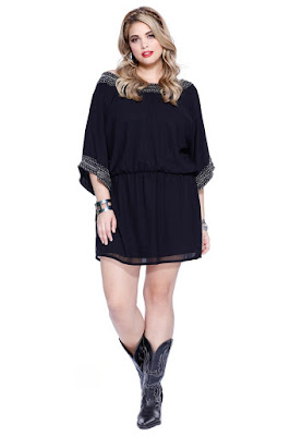 Half Sleeve Little Black Dress Plus Size Dress