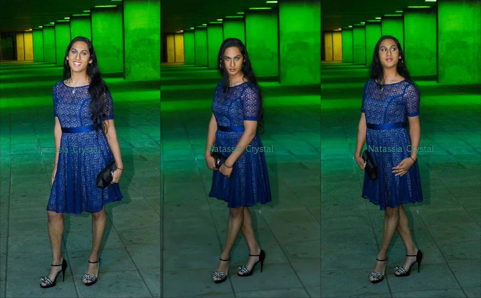 Natassia Crystal natcrys, blue prom dress, high heeled sandals, outside at night, architecture institute