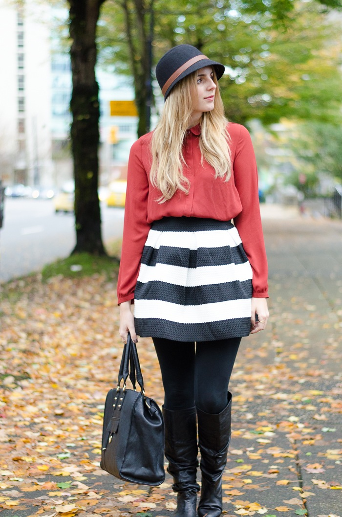 Fall outfit in Forever 21 blouse and striped black and white skirt