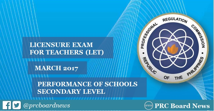 Top Performing, Performance of Schools: March 2017 LET Secondary