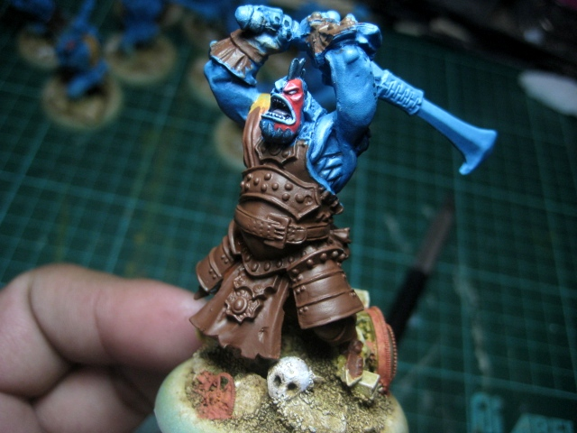 WIP - Trollbloods Fennblades unit - basing painted photo