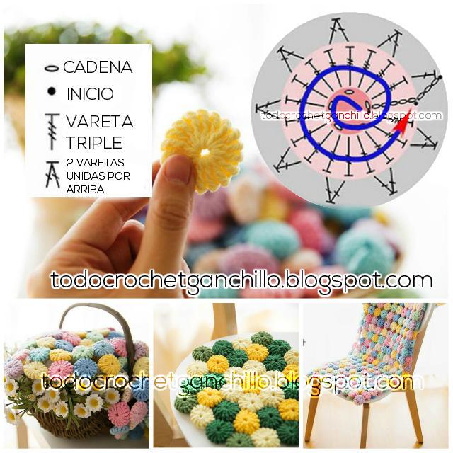 Cómo tejer punto Yo Yo al Crochet / patrones y video | Todo crochet