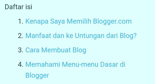 Cara Membuat Daftar Isi di Halaman Statis dan Halaman Artikel Posting Blog