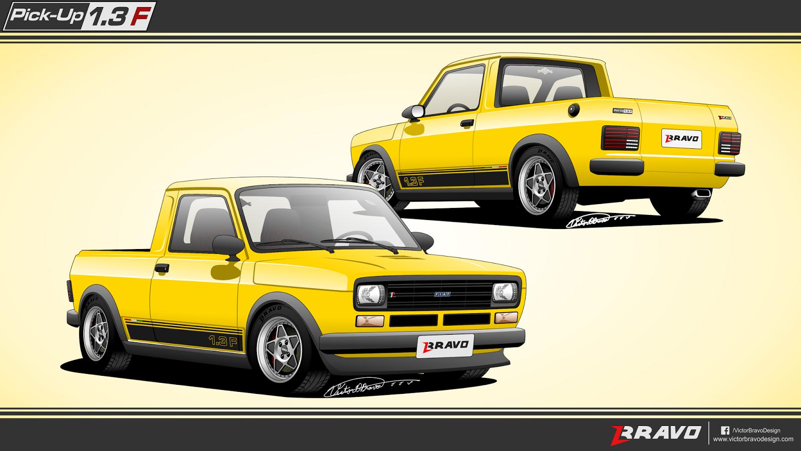 """Imagem mostrando o desenho do projeto da Fiat Pick-Up 147 """"1.3F"""""""