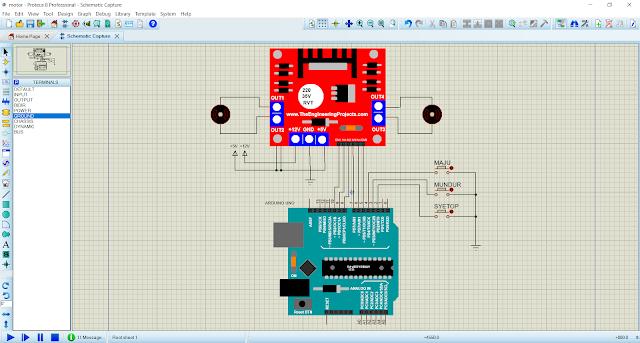 Simulasi Proteus Kontrol Driver Motor L298N