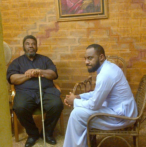 pete Photo: Yul Edochie on set with his father, Pete Edochie