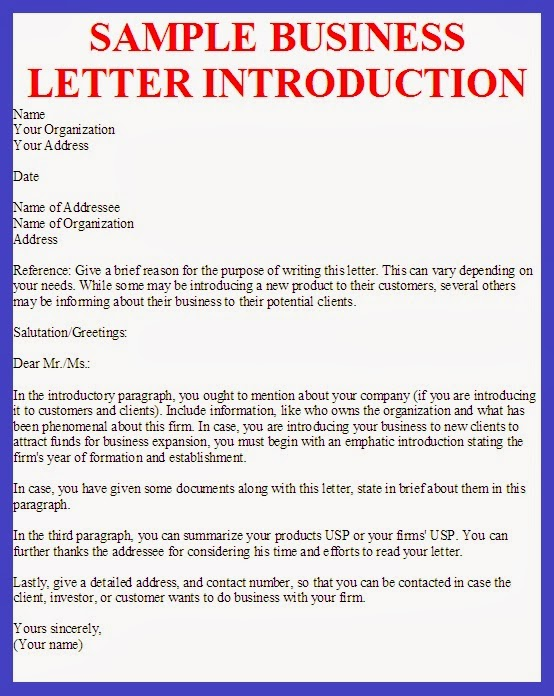 sample business introduction letter template - business letter example