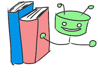 smiling green robot gestures to 2 books