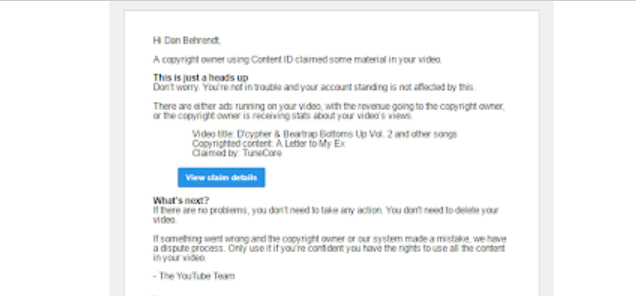 The Mindless Freaks: Copyright Claim yet again on my D