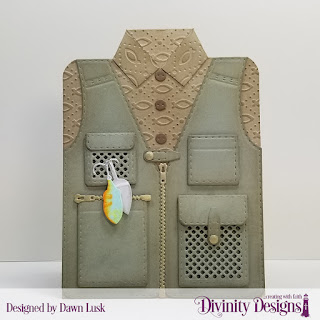 Divinity Designs Custom Dies: Fishing & Hunting Vest, Couture Collection, Embossing Folder: Fish